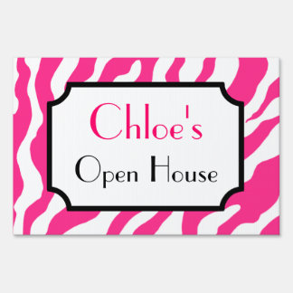 Custom Pink Zebra Yard Sign