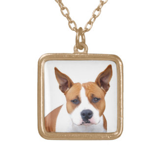 Custom Pit Bull Puppy Dog Neckace ~ Gold or Silver Gold Plated Necklace