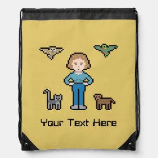 Custom Pixel Animal Rescue Girl Drawstring Backpacks