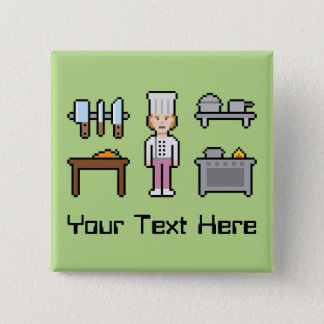 Custom Pixel Female Chef 2 Inch Square Button