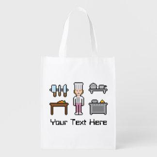 Custom Pixel Female Girl Grocery Bag