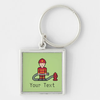 Custom Pixel Fireman Keychain
