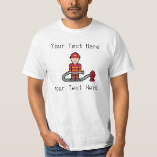 Custom Pixel Fireman T-Shirt