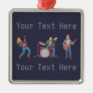 Custom Pixel Rock Band Metal Ornament