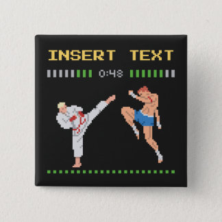 Custom Pixel Video Game Fight 2 Inch Square Button