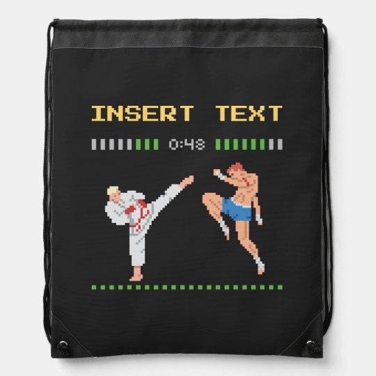 Custom Pixel Video Game Fight Drawstring Bag