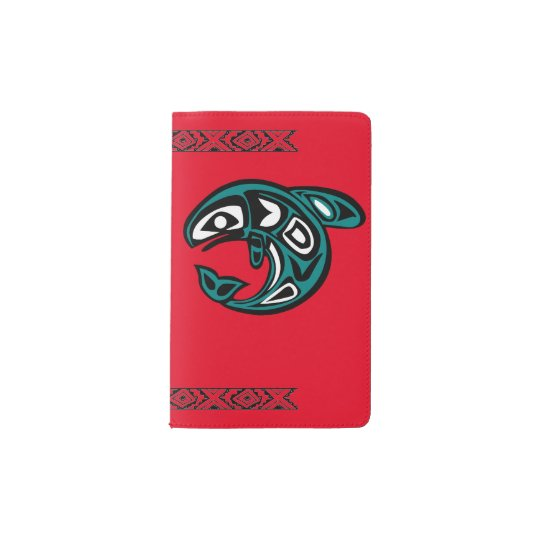 Custom Pocket Notebook Red Native Fish Symbol