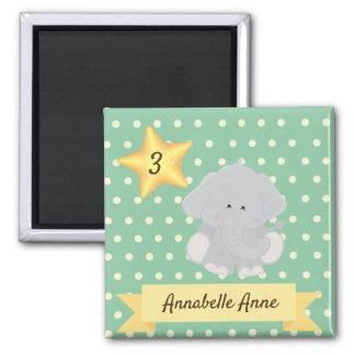 Custom Polka Dot Elephant with Name and Age Magnet