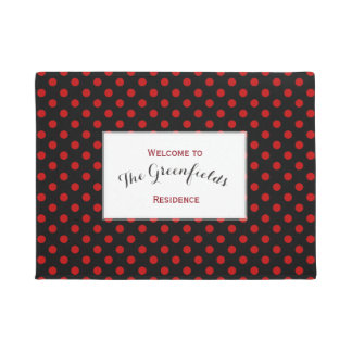 Custom Polka Dot Red Black Background Doormat