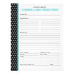 Custom Polka Dot Turquoise Accent Recipe Page Letterhead Design