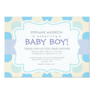"Custom polka dots baby boy shower 5"" x 7"" invitation card"