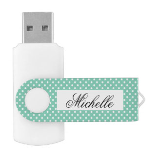 Custom polka dots pattern swivel USB flash drive Swivel USB 2.0 Flash Drive