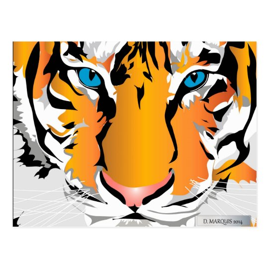 CUSTOM POSTCARDS- TIGER-ORANGE POSTCARD