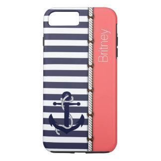 Custom Preppy Retro Boat Anchor Stripes Pattern iPhone 8 Plus/7 Plus Case