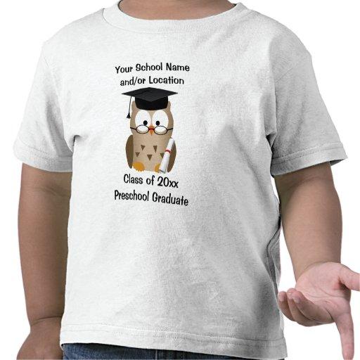 Custom Preschool Graduation T-Shirt, Wise Owl