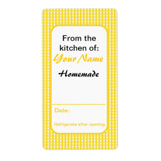 Custom Preserve Labels From the Kitchen of Yellow Personalized Shipping Labels
