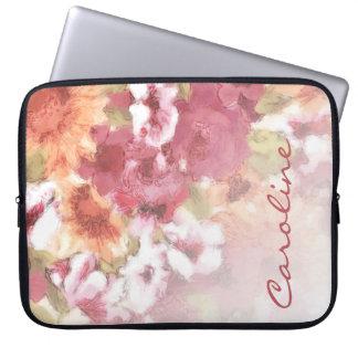 Custom Pretty Flowers Pattern Watercolor Painting Laptop Sleeve