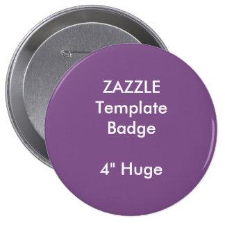 "Custom Print 4"" Huge Round Badge Blank Template 4 Inch Round Button"