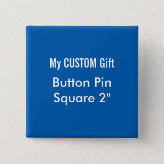 "Custom Printed 2"" Square Button Badge Pin BLUE"