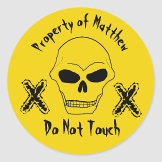 Custom Property of Your Name Skull Face Yellow Classic Round Sticker