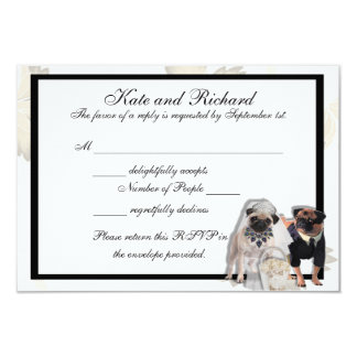 Custom Pug Wedding RSVP Cards