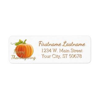 Custom Pumpkin Happy Thanksgiving Return Address Label