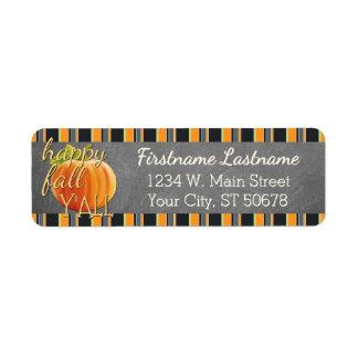 Custom Pumpkin Orange Green Stripes Pattern Return Address Label