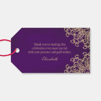 Custom Purple and Gold Indian Style Pack Of Gift Tags