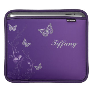Custom Purple and Silver Flowers and Butterflies iPad Sleeve