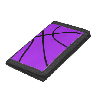 Custom Purple Basketball Tri-fold Wallets