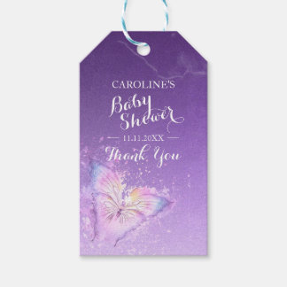 Custom Purple Butterfly Watercolor Baby Shower Gift Tags