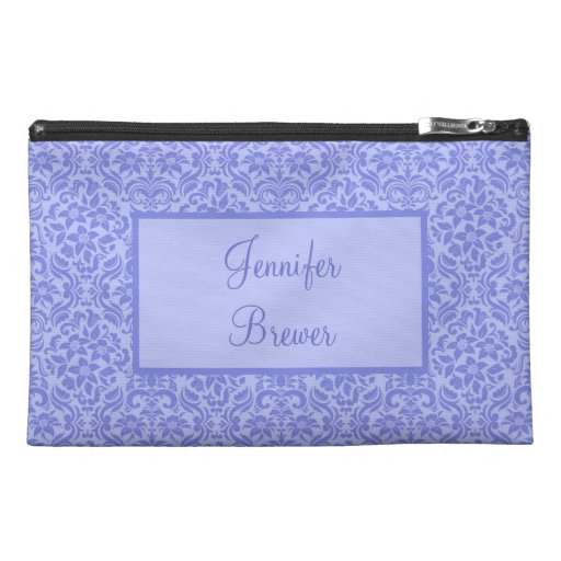 Custom Purple Damask Accessory, Coin or Makeup Bag Travel Accessory Bag