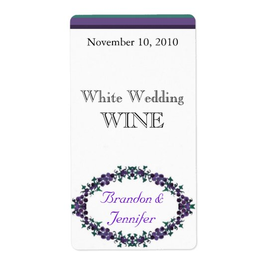 Custom Purple Floral Wedding Mini Wine Labels
