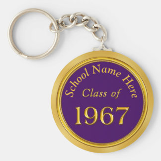 Custom Purple, Gold 1967 High School Reunion Gifts Basic Round Button Keychain