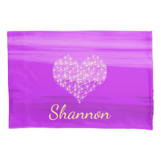 Custom purple heart with shining stars with name pillowcase
