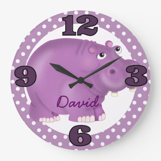 Custom Purple Hippopotamus Wall Clock