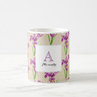 Custom Purple Iri Floral Art Monogram Square White Coffee Mug