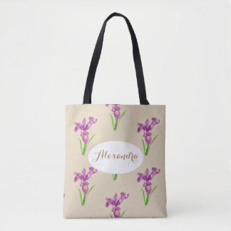 Custom Purple Iris Tote Bag