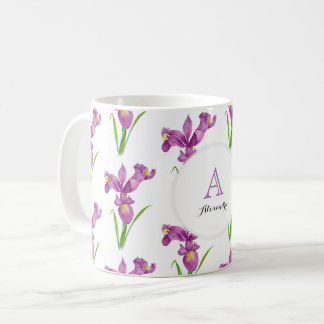 Custom Purple Irises Floral Art Monogram Circle Coffee Mug
