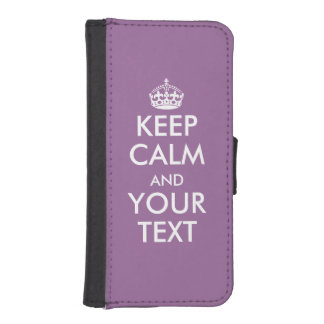 Custom purple keep calm text wallet iphone case