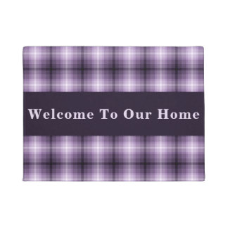 Custom Purple Monochrome Plaid Doormat