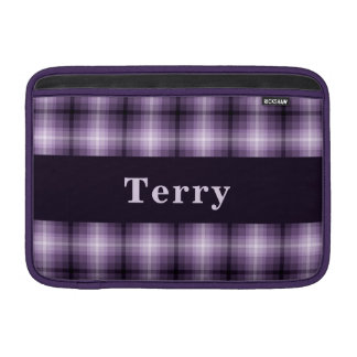 Custom Purple Monochrome Plaid MacBook Air Sleeve