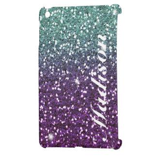 Custom Purple ombre girly glitter Ipad Mini case