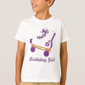 Custom Purple Roller Skate Birthday Girl T-Shirt