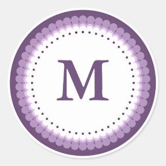 Custom Purple Scalloped Monogram Classic Round Sticker