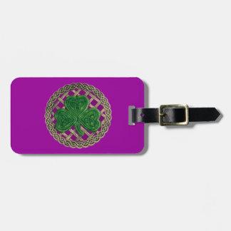 Custom Purple Shamrock Celtic Knots Luggage Tag