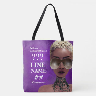 Custom Purple Sorority Black Art Tote Bag