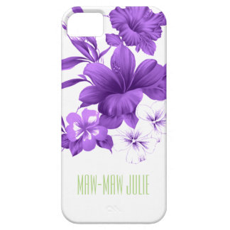 Custom Purple Tropical Flowered Phone Case