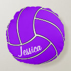 Custom Purple Volleyball Round Pillow