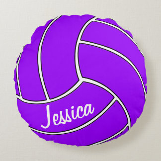 Custom Purple Volleyball Round Pillow
